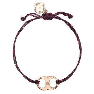 TORY BURCH • Embrace Ambition Braided Rose Gold Burgundy Slider Bracelet